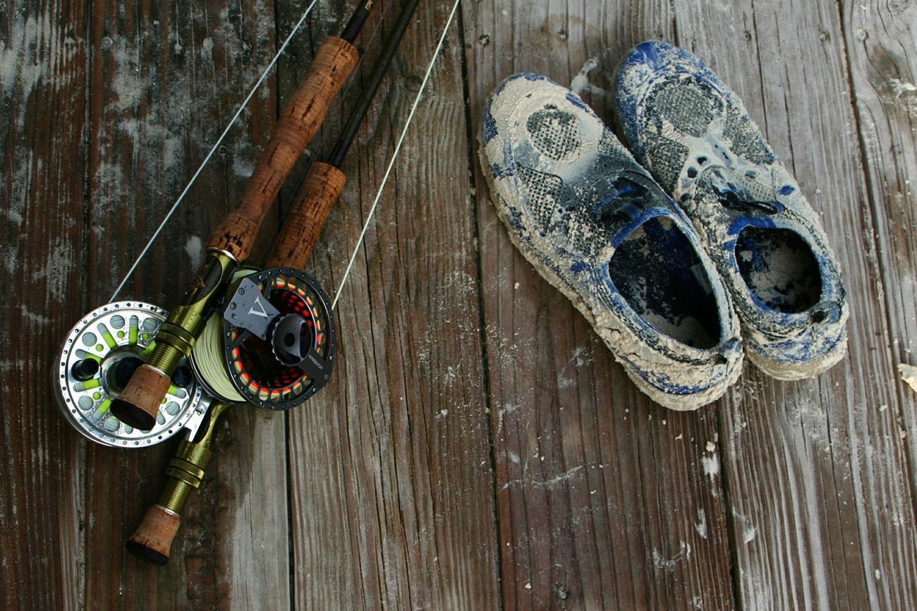 fishing rod and sand shoes.jpg