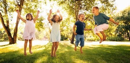Children jumping image
