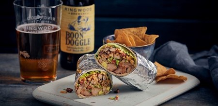 Pulled Pork Burrito Paired With A Luscious Fruity Blonde
